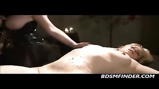 Femdom lesbian bondage And scorching paraffin wax Thumb