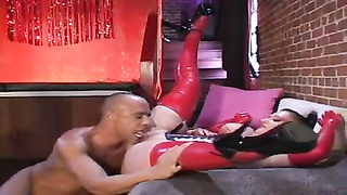 Iam Pierced - busty latex slut with pussy piercings nailed h Thumb