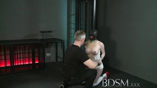 BDSM XXX Tattooed slaves are suspended and made to cum Thumb