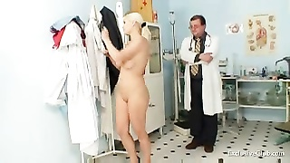 Busty Alexa Bold gyno exam and tits bondage at kinky clinic Thumb
