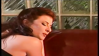 Hot lesbian bitch in leather eats pussy and dildo fuck girl's cunt in the sofa Thumb