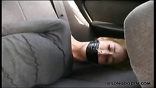 Outdoor caning with gagged Amy Thumb