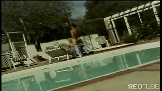 Blond doll  plowed next to pool Thumb