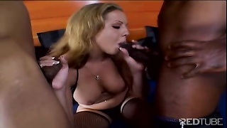 yellow-haired gets her face spanked  with shaft Thumb