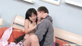 small titted asian teen Sevil occupy a enormous pecker Thumb