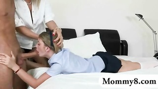 cutie youthfull  schoolgirl with her bf and stepmom banged on turns Thumb