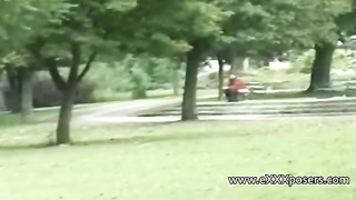 nervous blondy milf flashing in the park Thumb