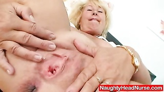blonde milf Greta big natural knockers and uniform Thumb