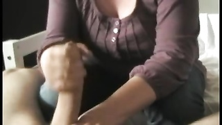 denims and both arms stroking man-meat Thumb
