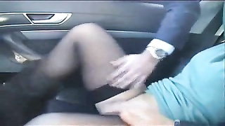 Exhibition of my slut in car frigged  by stranger. Public Thumb