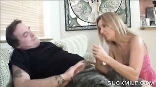 cougar sucking insane  schlong on knees Thumb