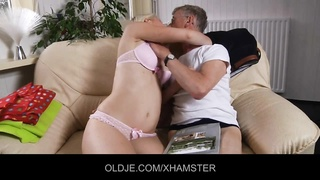 wild youthfull  blondie tease her old spouse  to fuck her Thumb