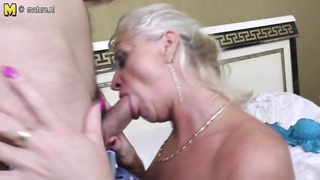 thin old old lady fucking and throating youthful boyfriend Thumb
