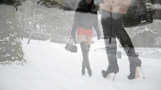 Hooker in high heels boots walking in snow + upskirt Thumb