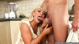 customary housewife sucks and pummels in the kitchen Thumb