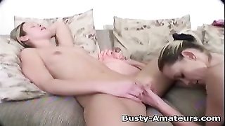 buxom Lesbians Sunny and Holly on fake penis  playing Thumb