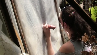 Gloryhole By oral pleasure Queen Sylvia Chrystall. Greenhouse attach Thumb