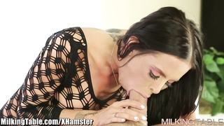 Milking Table Brandy Aniston Milking man sausage with Deep throat Thumb