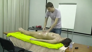 Nude inexperienced rubdown  demonstration - glowing slim brunette Thumb
