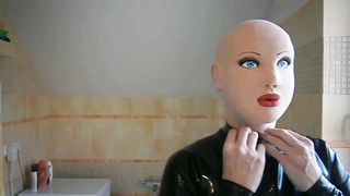 Masked latex doll with blond wig Thumb