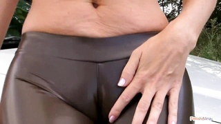 luxurious ass and Camel toe - Smoking Outdoors Thumb