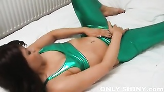 Natalia taunting  hard in taut  green spandex lingerie Thumb