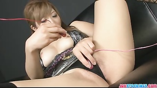 wet dripping asian labia fake penis  packed and blasting Thumb