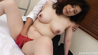 Yukari mets her boss after labor in red and dismal thong fo Thumb