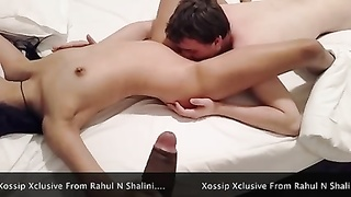 Indian couple cuckolding dreary with white fellow Thumb