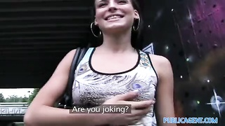 PublicAgent fuckin' a tall brunette on public pathway Thumb