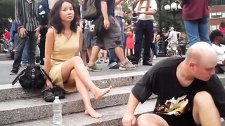 NYC Foot rubdown  Public Thumb