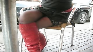 Flashing stockings in public cafe Thumb