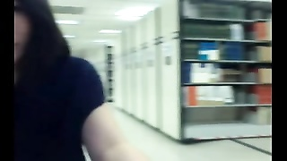 asian teenage  flashes in public library Thumb