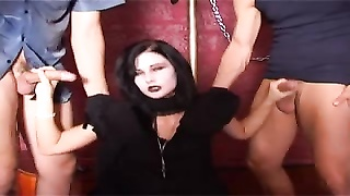 Goth damsel nailed by two boys Thumb