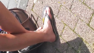 scorching teenage  impersonal Feet and bod with Thumb