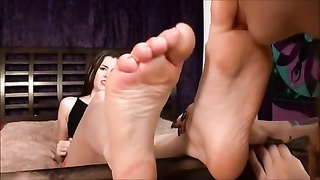 She experiments with damsels  by letting one lick her feet! Thumb