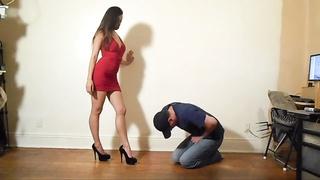 Ballbusting - red Dress babe Thumb