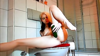 super hot emo honey  jerks with cucumber in bathroom Thumb