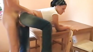 whore in ripped jeans plowed on the kitchen table Thumb