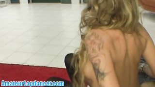 Tattooed sexbomb lapdances for camera stud Thumb