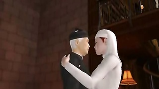 3D nun deep throating man meat Thumb