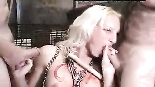 yellow-haired is caged and treated savor a slut Thumb