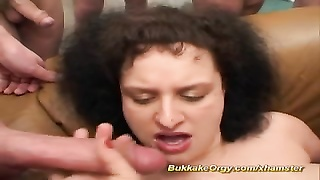 Curly gobble jizz in gangbang Thumb