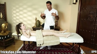 TrickySpa sly masseuse  thrusts man sausage into polish Slut's mouth Thumb