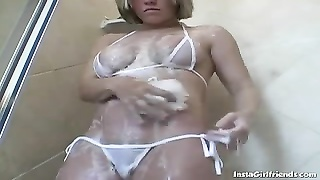 huge-titted blonde beauty Lets Us In On Her Shower Moments Thumb