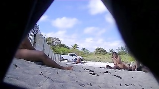 Exhibitionist wifey  taunting  Nude Beach Voyeurs Next To spouse ! Thumb