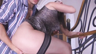 Busty-Brunette-MILF ass fucking taken by young man Thumb