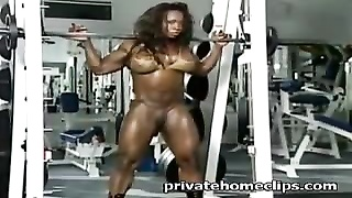 black dame muscles at roomsport- big clito. Thumb