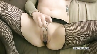 lovely college woman Mia is pounding a toy Thumb