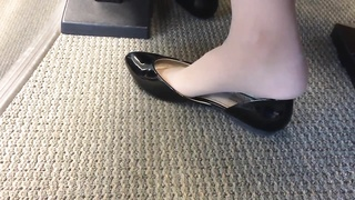 impartial US College teenage  Shoeplay Feet hanging in Nylons PT four Thumb